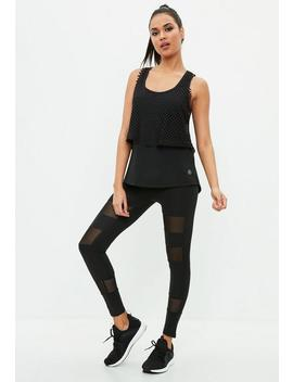 Active Black Mesh Insert Legging by Missguided