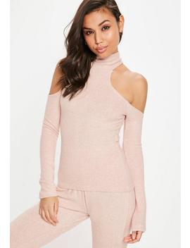 Nude Brushed Cold Shoulder Top by Missguided