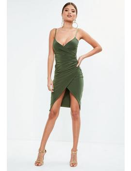 Khaki Cami Ruched Split Side Midi Dress by Missguided