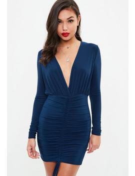 Navy Long Sleeve Plunge Front Ruched Mini Dress by Missguided