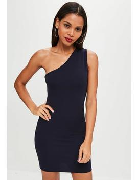 Navy One Shoulder Bodycon Dress by Missguided