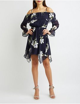 Floral Ruffle Off The Shoulder Dress by Charlotte Russe