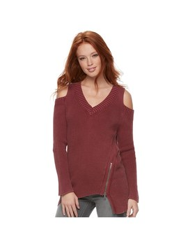 Women's Rock &Amp; Republic® Ribbed Cold Shoulder Sweater by Rock &Amp; Republic
