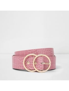 Light Pink Croc Embossed Double Ring Belt                                  Light Pink Croc Embossed Double Ring Belt by River Island