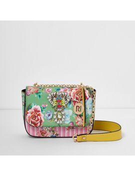 Green Floral Jewel Embellished Chain Bag                                  Green Floral Jewel Embellished Chain Bag by River Island