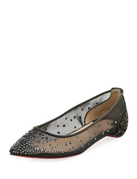 Follies Strass Red Sole Flat by Christian Louboutin