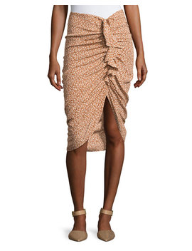 Hazel Side Ruched Silk Ruffle Skirt by Neiman Marcus