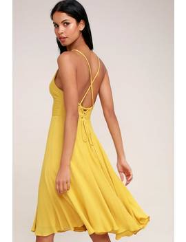 Troulos Mustard Yellow Lace Up Midi Dress by Lulus