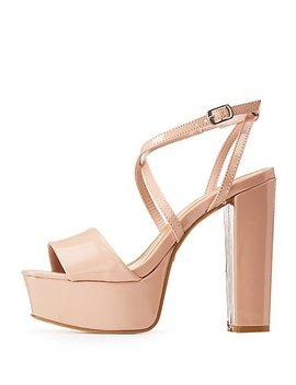Bamboo Patent X Two Piece Wedge Sandals by Charlotte Russe