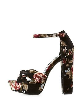Floral Velvet Two Piece Platform Sandals by Charlotte Russe