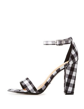 Bamboo Gingham Two Piece Sandals by Charlotte Russe