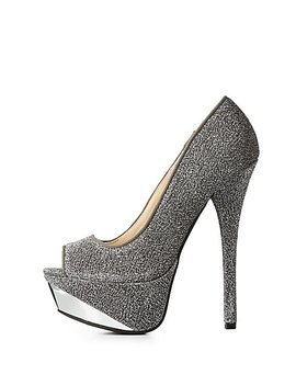 Metallic Peep Toe Platform Pumps by Charlotte Russe