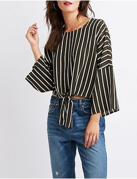 Striped Front Tie Top by Charlotte Russe