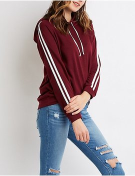 Stripe Detailed Pullover Hoodie by Charlotte Russe