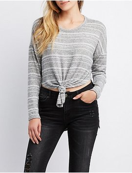 Striped Tie Front High Low Tunic Top by Charlotte Russe