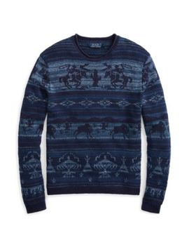 Intarsia Cotton Blend Sweater by Ralph Lauren