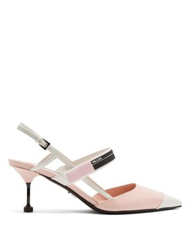 Point Toe Slingback Leather Pumps by Prada