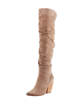 Noelle Scrunched Suede Over The Knee Boot by Charles By Charles David