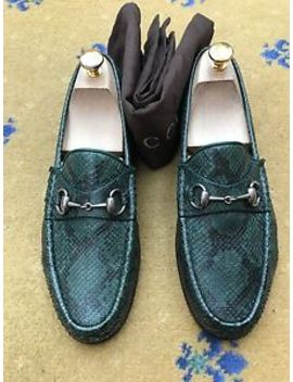 Gucci Mens Shoes Green Leather Snakeskin Horsebit Loafers Uk 7.5 Us 8.5 Eu 41.5 by Gucci