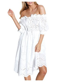 Off The Shoulder Eyelet Dress by Style Keepers
