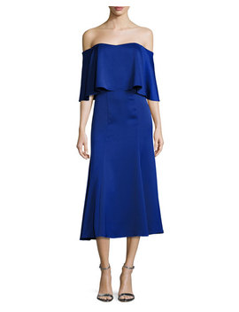 Ruffle Fit And Flare Cocktail Dress, Cobalt by Camilla And Marc