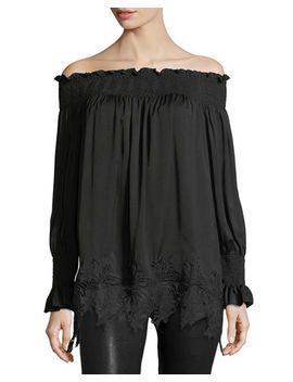 Off The Shoulder Lace Hem Tunic by Philosophy