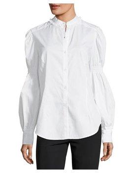 Blouson Sleeve Poplin Shirt by Max Studio