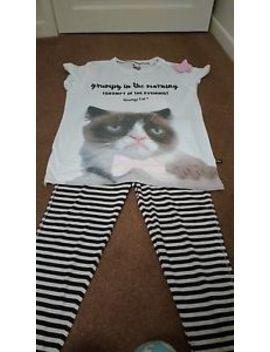 Primark Grumpy Cat Pj Pyjama Set Size L (14 16) Bnwt **Free Grumpy Cat Gift** by Primark
