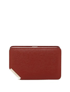 Corner Frame Embossed Leather Clutch by Bally