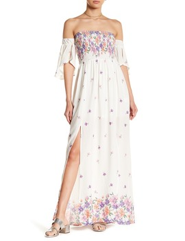Off The Shoulder Floral Print Maxi Dress by Tassels N Lace