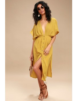 Poppy Mustard Yellow Button Up Midi Dress by Lost + Wander