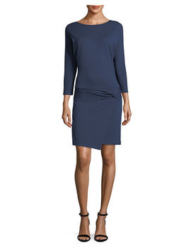 3/4 Sleeve Dress With Tie Detail by Halston Heritage