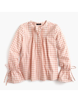 Tie Sleeve Top In Gingham by J.Crew