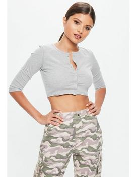 Petite Grey Button Through Crop Top by Missguided