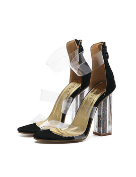 Summer Sandals Transparent Fashion Shoes 2018 Ankle Strap High Heels Sandals Women Clear Sandals Zip Zapatos Mujeres Black/Nude by Walking To The Fashion Zone