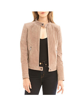 Bagatelle® Suede Quilted Moto Jacket by Bon Ton