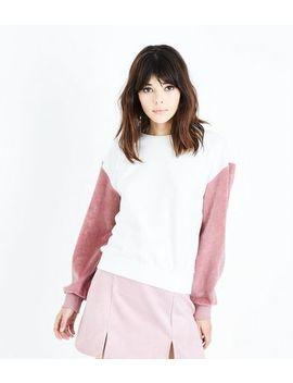 White Corduroy Sleeve Sweatshirt by New Look