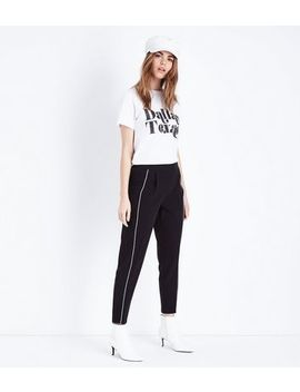 Black Piped Stripe Tapered Trousers by New Look