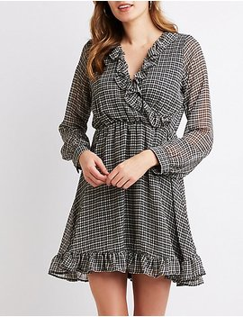 Plaid Ruffle Trimmed Skater Dress by Charlotte Russe