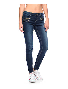Almost Famous Sam Dark Wash Zipper Pocket Skinny Jeans by Almost Famous
