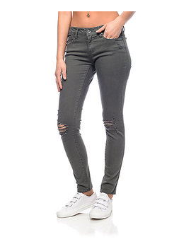 Empyre Tessa Olive Destryoed Skinny Jeans by Empyre