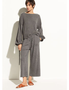 Wide Leg Wool And Cashmere Crop by Vince