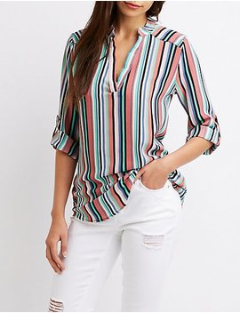 Striped V Neck Top by Charlotte Russe