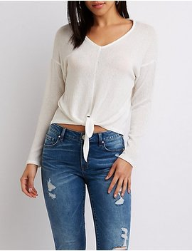 Open Knit Tie Front Top by Charlotte Russe