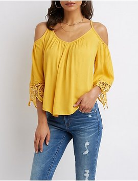 Crochet Trimmed Cold Shoulder Top by Charlotte Russe