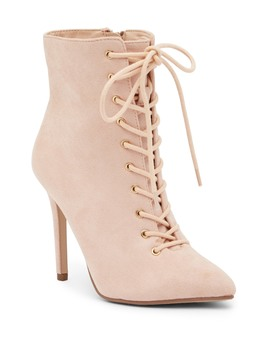 Jane Lace Up Faux Suede Bootie by Jacobies Of Beverly Hills
