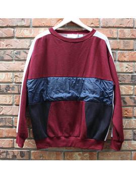 Vintage 90's Sweatshirt With Nylon Windbreaker Trim Men's Large by Etsy