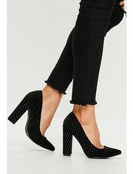 Black Block Heel Speckled Court Shoes by Missguided