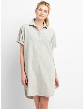 Rolled Sleeve Popover Denim Shirtdress In Pinstripe by Gap