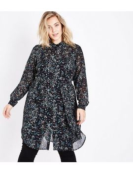 Curves Black Ditsy Floral Chiffon Longline Shirt by New Look